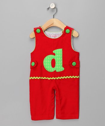 Red 'D' Corduroy Overalls - Infant