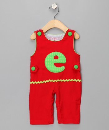 Red 'E' Corduroy Overalls - Infant