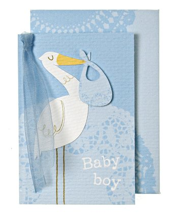 Blue Stork Gift Enclosure Card - Set of Six