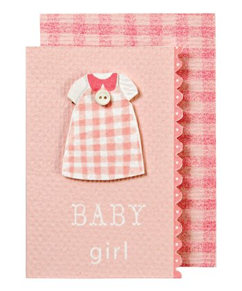 Pink Gingham Baby Gift Enclosure Card - Set of Six