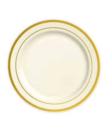 "Cream & Gold 7.5"" Round Plate - Set of 20"
