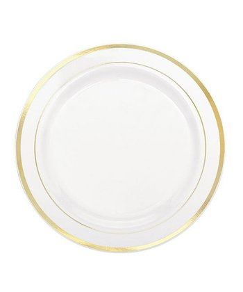 "Gold Trim 7.5"" Round Plate - Set of 20"