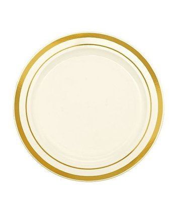 "Cream & Gold 6.25"" Round Plate - Set of 20"