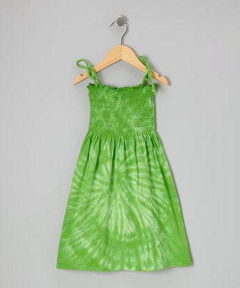 Lime Spider Tie-Dye Smocked Dress - Toddler & Girls
