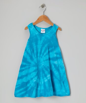 Blue Tie-Dye Swing Dress - Toddler & Girls