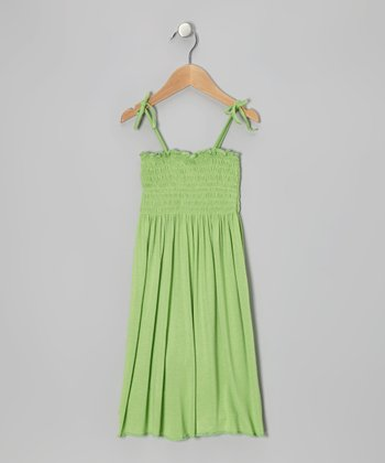 Lime Shirred Dress - Toddler & Girls
