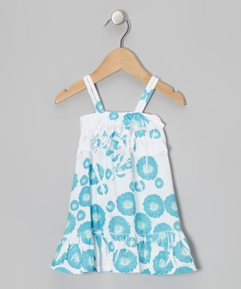 Blue Daisy Ruffle Dress - Toddler