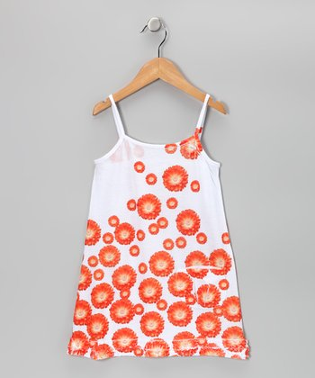 Orange Daisy Pocket Dress - Toddler