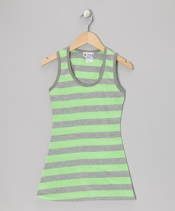 Lime & Gray Stripe Dress - Toddler & Girls