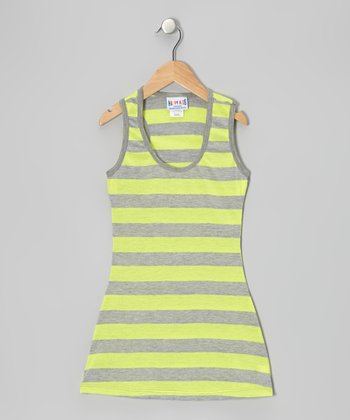 Yellow & Gray Stripe Dress - Toddler & Girls