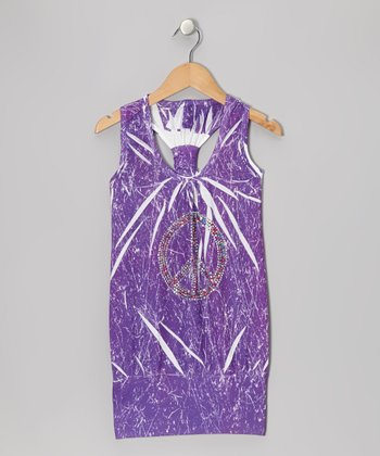 Purple Marble-Dye Racerback Dress - Girls