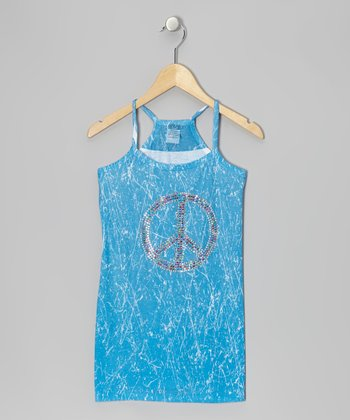 Blue Marble-Dye Dress - Girls