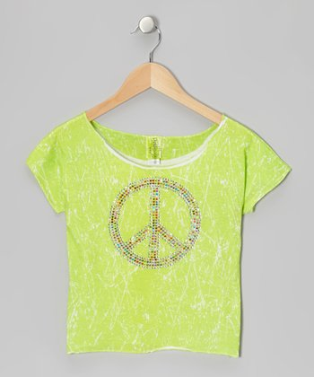 Lime Marble-Dye Crop Top - Girls