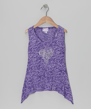 Purple Burnout Heart Racerback Tank - Girls