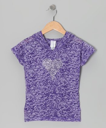 Purple Burnout Heart Tee - Girls