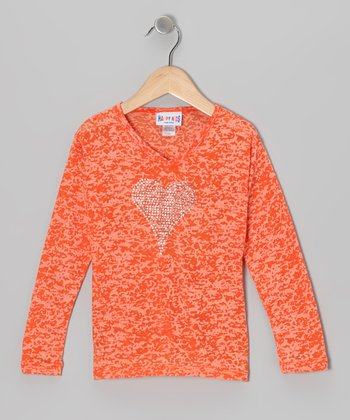 Orange Burnout Heart Long-Sleeve Tee - Girls