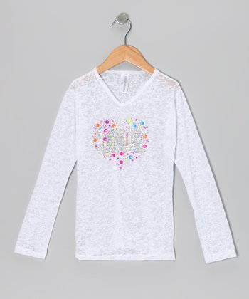 White Burnout Heart Long-Sleeve Tee - Girls