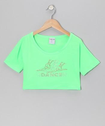 Lime 'Dance' Ballerina Belly Crop Top - Girls