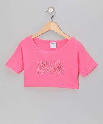 Pink 'Dance' Explosion Belly Crop Top - Girls