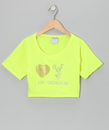 Yellow 'Love Cheerleading' Belly Crop Top - Girls