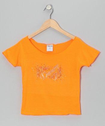 Orange 'Dance' Explosion Crop Top - Girls