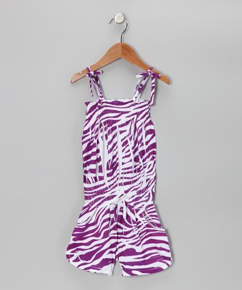 Purple Zebra Romper - Toddler & Girls