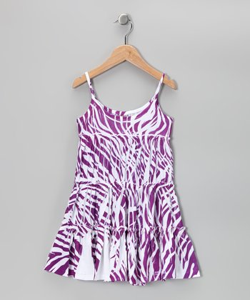 Purple Zebra Babydoll Dress - Girls