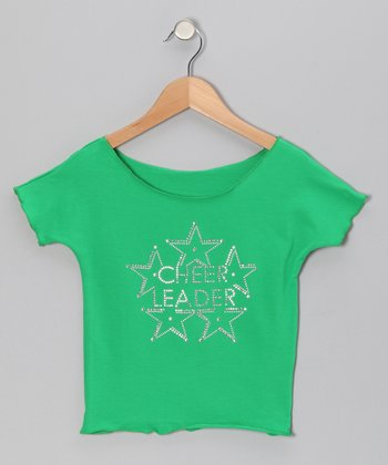 Green 'Cheerleader' Star Crop Top - Girls