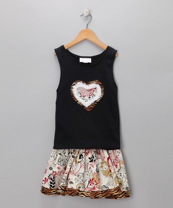 Black Frayed Heart Tank & Ivory Tattoo Skirt - Toddler & Girls