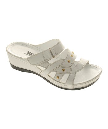 White Leather Enlighten Slide