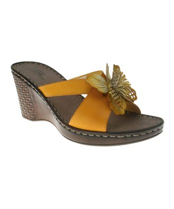 Yellow Leather Marseilles Slide