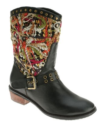Black Leather Pueblo Boot
