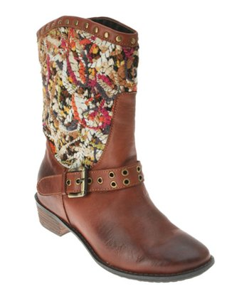 Brown Leather Pueblo Cowboy Boot