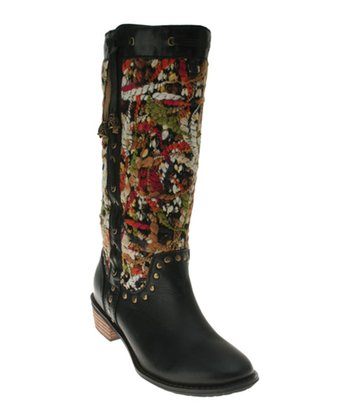 Black Leather Tapestry Boot