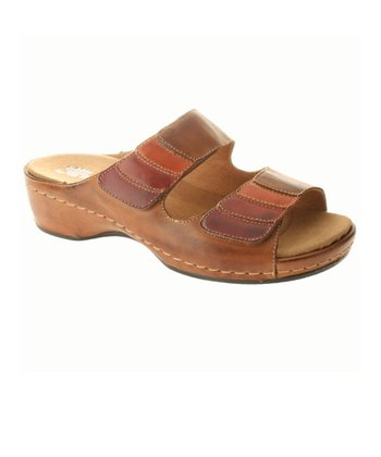 Brown Leather Toya Slide
