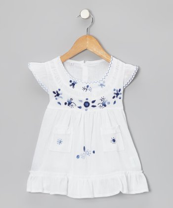 Azul Azulejo Angel-Sleeve Dress - Infant, Toddler & Girls