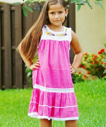 Magenta Lucila Yoke Dress - Infant, Toddler & Girls