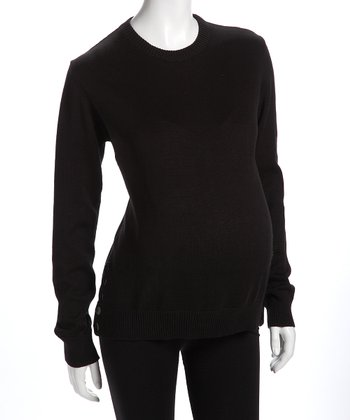 Black Side-Button Maternity Sweater