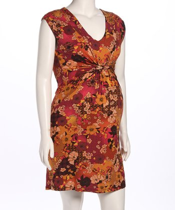 Autumn Gathered Maternity Dress