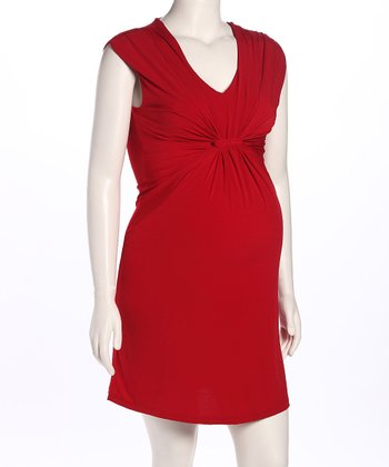 Red Gathered Maternity Dress
