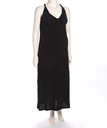 Black Cross-Back Maternity Maxi Dress