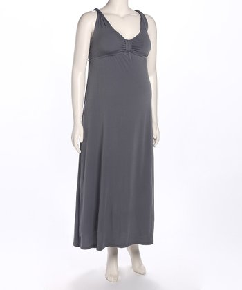 Gray Cross-Back Maternity Maxi Dress