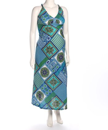 Blue Vintage Cross-Back Maternity Maxi Dress