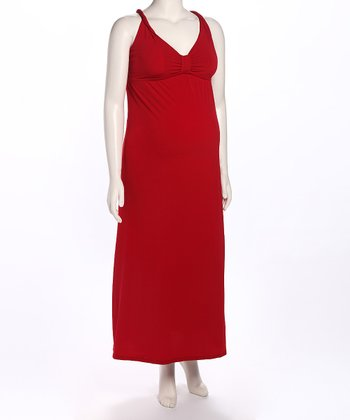 Red Cross-Back Maternity Maxi Dress