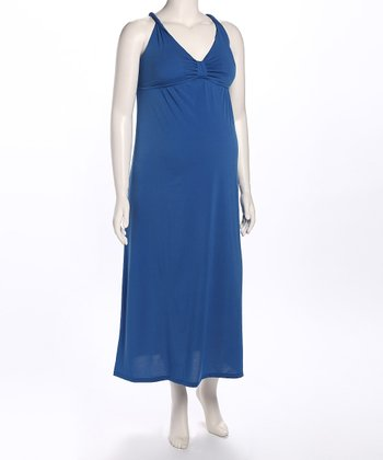 Royal Blue Cross-Back Maternity Maxi Dress