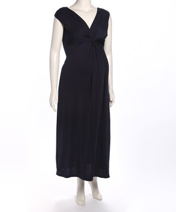 Navy Gathered Maternity Maxi Dress