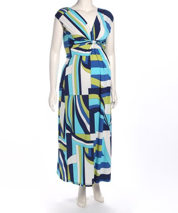 Blue Geometric Gathered Maternity Maxi Dress