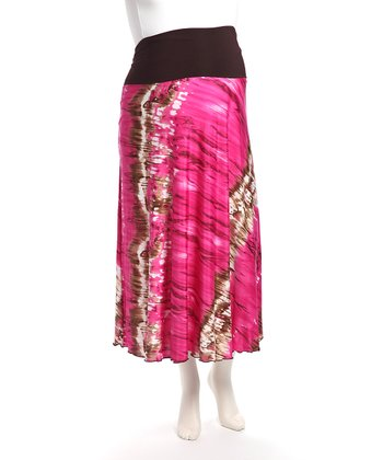 Brown & Pink Foldover Maternity Skirt