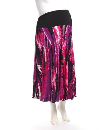 Purple Foldover Maternity Skirt