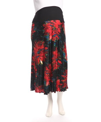 Red Foldover Maternity Skirt